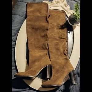 Zara Faux Suede Over The Knee High Heel Boots